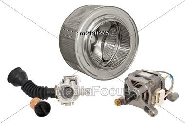 Details Of Household Automatic Washing Machine, Isolated On White Background. Stock Photo