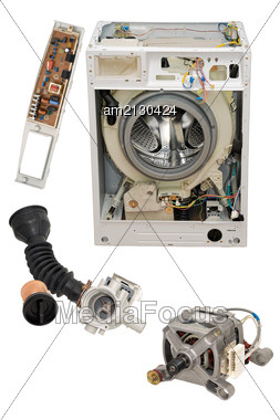 Details Of Household Automatic Washing Machine, Isolated On White Background. Stock Photo