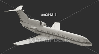 Details Of The Model Airplane Paper Isolated On A Dark Gray Background Stock Photo