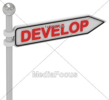 DEVELOP Arrow Sign With Letters Stock Photo