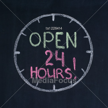 "Dial With Text ""Open 24 Hours!"", Drawn On A Blackboard Stock Photo"