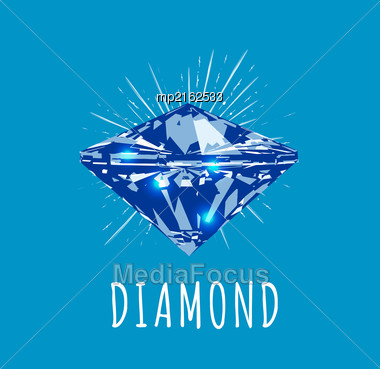 Diamond In Front View. Vector Illustration On Blue Background Stock Photo
