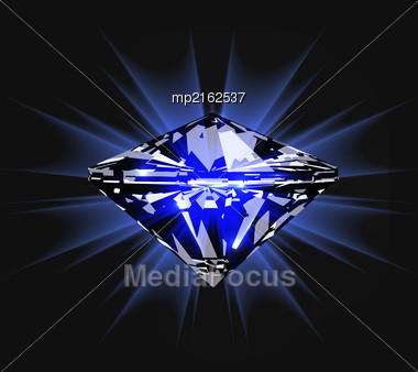 Diamond In Front View. Vector Illustration On Dark Blue Background Stock Photo
