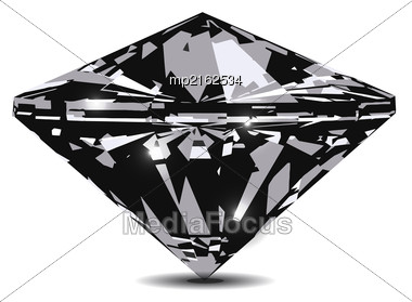Diamond In Front View. Vector Illustration On White Background Stock Photo