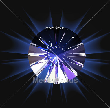 Diamond In Top View. Vector Illustration On White Background Stock Photo