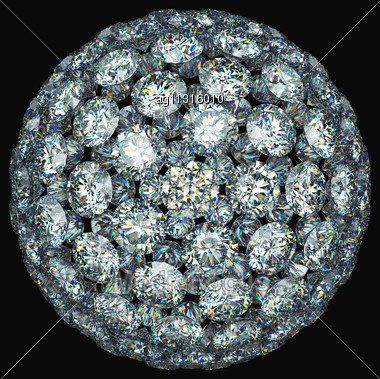 Diamonds Or Gemstones Sphere Isolated Over Black Stock Photo