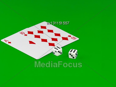 """Dice And Playing Cards - """"Pip- 21"""" On Green Broadcloth Stock Photo"""