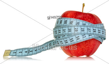 Diet Concept With Apple And Measuring Tape, Isolated On White Background Stock Photo