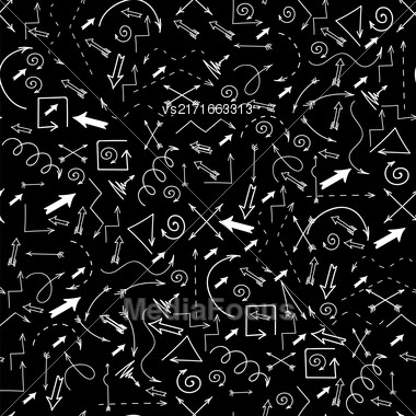 Different Arrows Seamless Pattern On Black. Hand Drawn Symbols Stock Photo