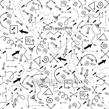Different Arrows Seamless Pattern On White. Hand Drawn Symbols Stock Photo