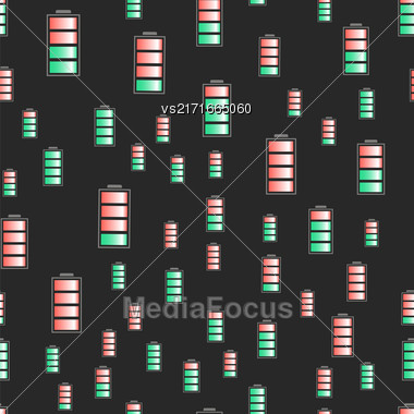 Different Charge Of Battery Seamless Pattern Isolated On Dark Background Stock Photo