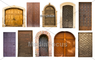 Stock photo different collection old antique doors gates for Door to gate kontakt
