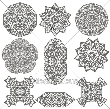 Different Geometric Ornaments Set Isolated On White Background Stock Photo
