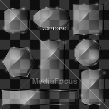 Different Glass Banners On Grey Checkered Background Stock Photo