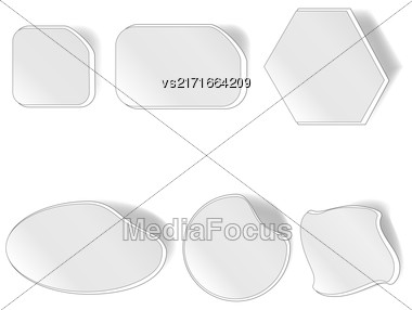 Different Grey Stickers Set Isolated On White Background Stock Photo