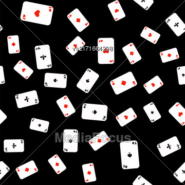 Different Playing Cards Pattern On Black Background Stock Photo
