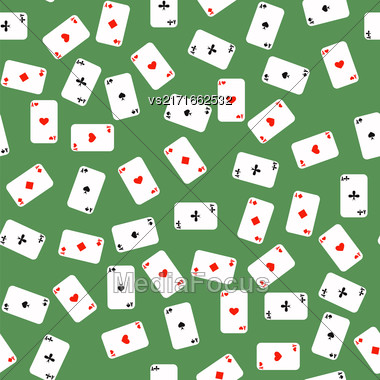 Different Playing Cards Pattern On Green Background Stock Photo