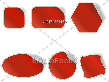 Different Red Stickers Set Isolated On White Background Stock Photo
