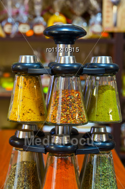 Different Spices On The Counter Of Market Stock Photo