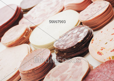 Different Types Of Sausages, Cold-Cuts Stock Photo