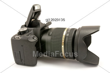 Digital Black Photocamera Stock Photo