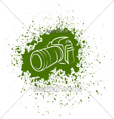 Digital Camera Icon. Photographic Poster On Green Blob Background Stock Photo