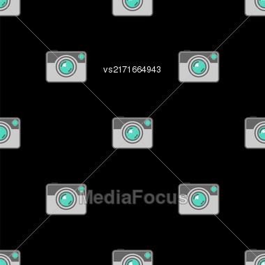 Digital Camera Icon Seamless Pattern On Black Background Stock Photo