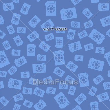 Digital Camera Icon Seamless Pattern On Blue Background Stock Photo