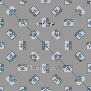 Digital Camera Icon Seamless Pattern On Grey Background Stock Photo
