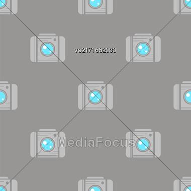 Digital Camera Seamless Pattern On Grey Background Stock Photo
