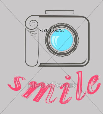 Digital Camera And Text Smile. Photographic Poster On Grey Background Stock Photo