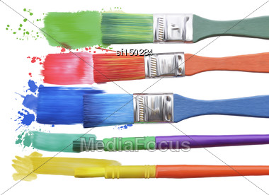 Digital Painting Of Paints And Brushes Stock Photo