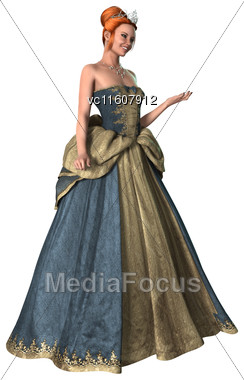 Digital Render Of A Beautiful Fairytale Princess Isolated On White Background Stock Photo