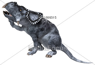 Digital Render Of A Dinosaur Protoceratops Isolated On White Background Stock Photo