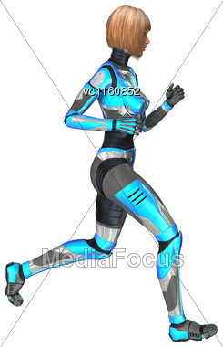 Digital Render Of A Female Cyborg Isolated On White Background Stock Photo