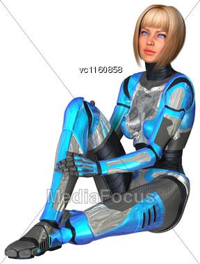 Digital Render Of A Female Cyborg Isolated On White Background Stock Photo