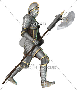 Digital Render Of A Medieval Knight Isolated On White Background Stock Photo