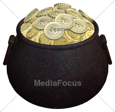 Digital Render Of A Pot Of Gold Isolated On White Background Stock Photo