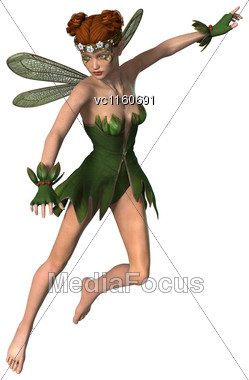 Digital Render Of A Pretty Spring Fairy Flying In A Fantasy Garden Stock Photo