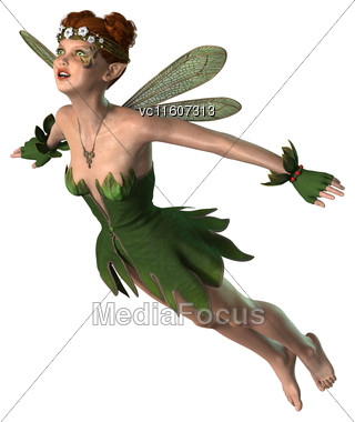 Digital Render Of A Pretty Spring Fairy Flying Isoalated On White Background Stock Photo