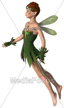 Digital Render Of A Pretty Spring Fairy Flying Isolated On White Background Stock Photo