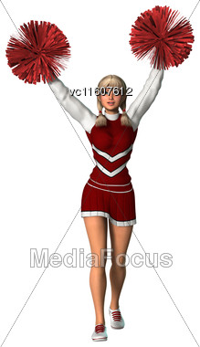 Digital Render Of A Young Cheerleader With Pompoms Isolated On White Background Stock Photo