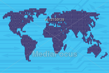 Digital World Map From Binary Code And Arrows Background As Modern Information Exchange Concept. Vector Image. Stock Photo