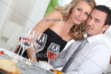 Dinner Guests Stock Photo