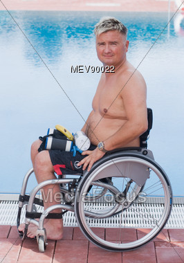 Stock Photo Disabled Man Wheelchair Next Swimming Pool - Image ...