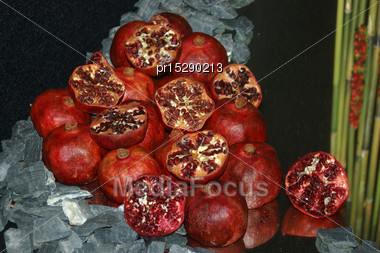 Display Of Pomegranates, Punica Granatum Stock Photo