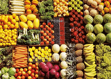 Display Of Various Fruit And Vegetables Stock Photo