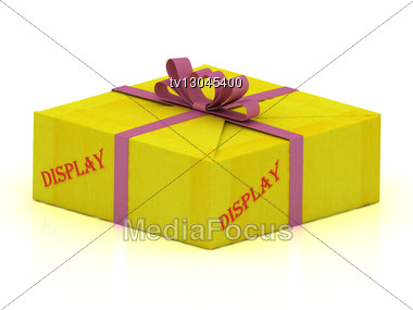 DISPLAY Stamp On Gift Box Wrapped Yellow Paper, Illustration Stock Photo