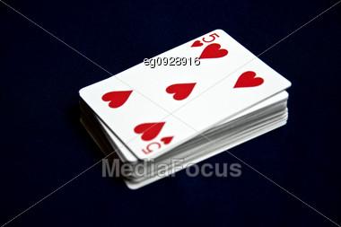 Displays Various Playing Cards Stock Photo