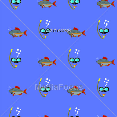 Diving Mask Icon Seamless Pattern On Blue. Extreme Sport Background Stock Photo